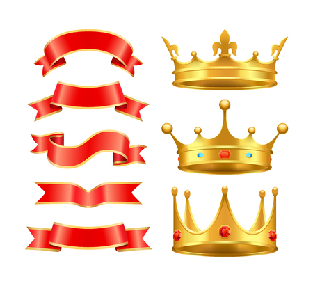 Ribbons and Crowns Icons Set Vector Illustration
