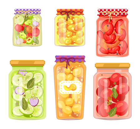Vector homemade fruit and vegetable conservation jars set isolated. Berry compote or marmalade, pickled tomato, cucumber and marrow veggie bottles.