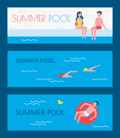 Summer pool swimming basins posters set. People sitting on poolside man floating on water surface in red lifebuoy. Male and couple in love vector Çizim