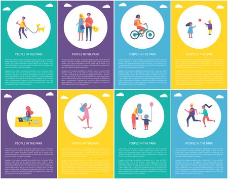 公園のポスターの人々は、テキストサンプルで設定されています。子供たちはゲームをプレイし、自転車に乗っている女性。子供のアイスクリームベクトルを与える女性のスケートと母親