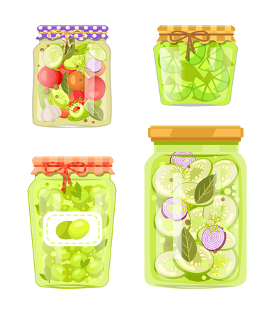Canned vegetables with garlic, preserved zucchini with onion and spicery, sliced lime and green plums conservation. Poster with homemade conserve jars