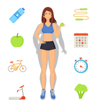 Weight loss and sport diet of lady transforming figure. Isolated icons set, bottle and apple, calendar and jumping rope. Treadmill and bicycle vector