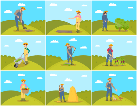 Farmer agriculture and farming people set. Male with shovel and rake, pitchfork and sprayer for bushes. Woman pulling compost trolley cart set vector Illustration