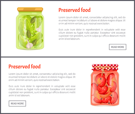 Preserved food banners, vegetable in brine. Cucumbers with garlic and spicy chili pepper inside jars web pages templates vector illustrations set.