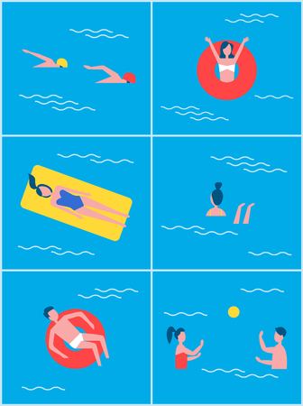 People in swimming pool set. Summer vacation and recreation of professional swimmers wearing special outfits. Man on lifebuoy lifeline vector Ilustrace