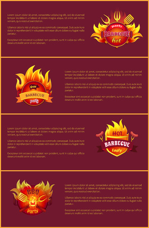 Hot Barbeque Party Vector Posters Set Burn Badges Illustration