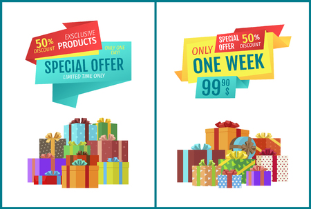 Special offer for exclusive products, only one week half-price discount promotional labels. Shop sale banners with packaged gifts or presents heap.