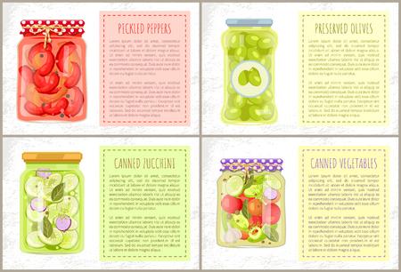 Pimientos en escabeche, calabacines y verduras en conserva, aceitunas verdes en conserva en botellas rústicas decoradas. Marco de vector para texto, productos alimenticios caseros en frascos