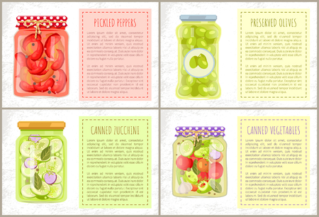 Pickled peppers, canned zucchini and vegetables, preserved green olives in rustic decorated bottles. Vector frame for text, home cooked foodstuff in jars
