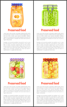 Preserved healthy food in jars banner with text. Ripe oranges, juicy grapes, tomatoes with garlic and greenery, tasty apricots vector illustration.