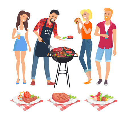 People on BBQ party isolated icons vector. Man serving food on plate skewer and well done beefsteak. Served dish with vegetables veggies roasted meat