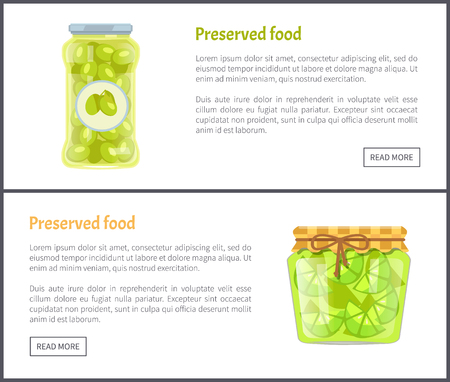 Preserved food in jars web Internet banners set. Spicy olives and lime slices canned product online pages, fruit or vegetable, vector illustrations. Иллюстрация