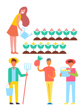 Farm activities of people icons set. Female watering flowers in bloom, farmers holding bucket and rake ready for farming. Harvesting male vector signs