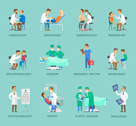 Group of doctors vector banner in cartoon style. Specialists in medical uniform examining, operating and curing people, in surgery with equipment Illustration