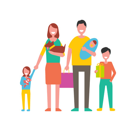 Family happy day for people. Mother holding pet father with newborn child and kids beside parents. Girl with bear toy boy with present gift vector