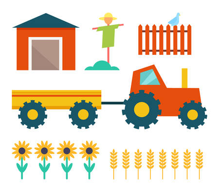 Farm Tractor and Building Vector Illustration