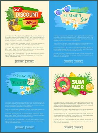 Best discount 30 percent off summer sale set of posters with pineapple, vanilla flowers orange citrus fruits and palm trees and inflatable life buoy vector 일러스트