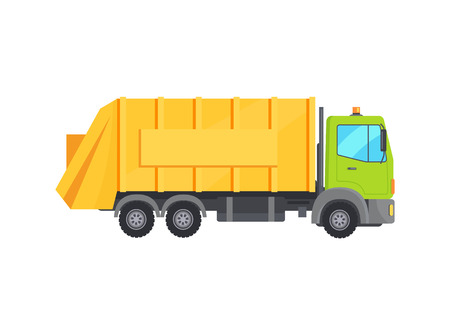 Camión de basura enorme moderno con baúl amarillo largo Ilustración de vector