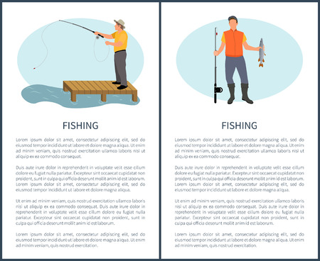 Fishing outdoor activity informative poster for man with text sample. Vector guy on pier with tackle catching fish and seaman with perch in hands. Illustration