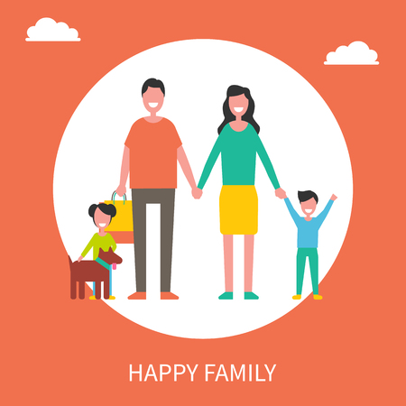 Happy family with dog and shopping bags poster. Parents holding children by hands, pet in collar, sons beside mother or father vector illustration. Illustration