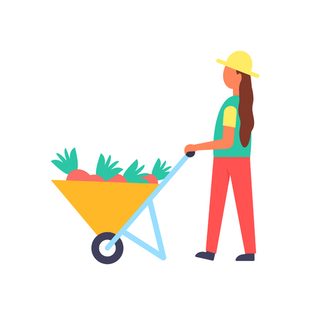 Lady working on farm with equipment vector banner. Farming woman in hat and uniform, carrying garden wheelbarrow full of just dug roots, isolated icon