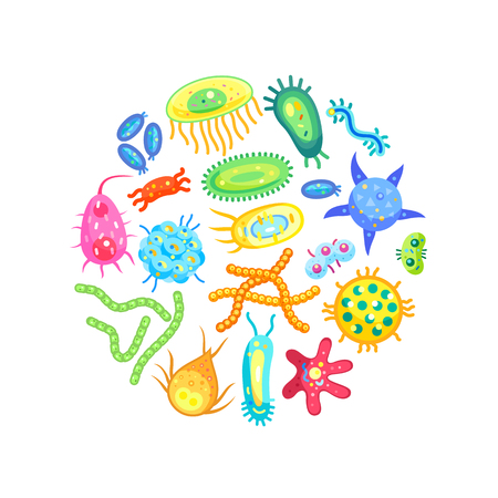 Zoomed different shaped and sized germs isolated. Vector microbes and bacterias view through magnifier or microscope poster for children teaching. Illustration
