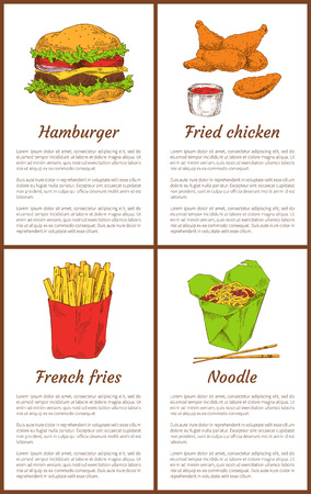 Hamburger and french fries fast food set. Fried chicken served with sauce in bowl, noodles and chopsticks, asian traditional meal vector illustration Çizim