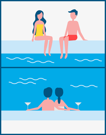 Couple romantic meeting set. People in love drinking alcohol beverages poured in glass sitting in swimming pool water. Vacation holidays vector