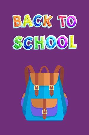 Back to school poster with bicolored schoolbag. Vector knapsack with big partition or pocket locked on bands with accessories for schoolchildren.
