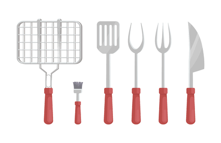 BBQ Barbecue Flatware Icons Vector Illustration Иллюстрация
