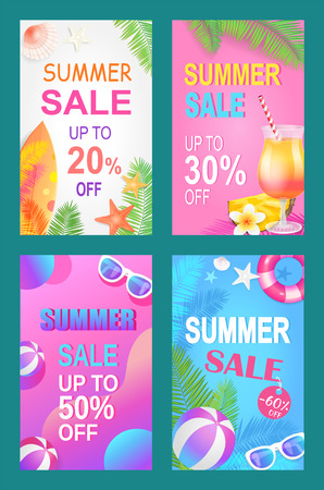 Summer Sale Save Money Set Vector Illustration Stock Illustratie