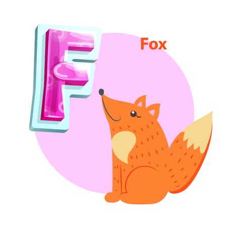 Fox animal for F letter abecedarian demonstration. Zoo children acrophony with cartoonish gleeful foxy character and embossed uppercase consonant.