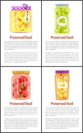 Fruits and Vegetables as Preserved Food Posters  イラスト・ベクター素材