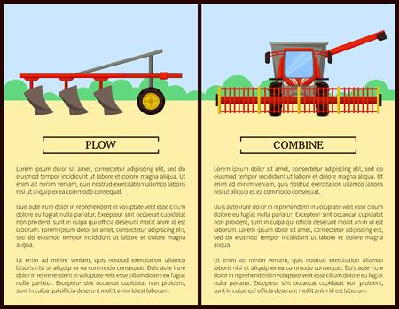 Labourer et combiner des affiches Set Vector Illustration