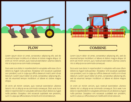 Plow and Combine Posters Set Vector Illustration