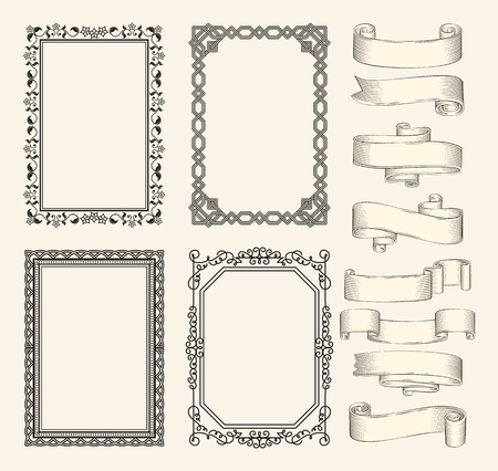 Frames and ribbons vector monochrome sketch set