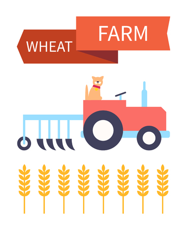 Wheat Farm Poster with Tractor Vector Illustration Illusztráció