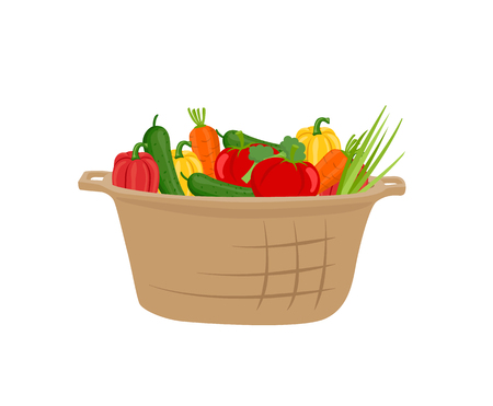 Basket of Vegetables Vector Icon in Cartoon Style