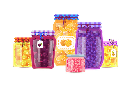 Canning products vector jars with preserved fruits and berries, tasty meal in glass containers, oranges and plums, blueberries and cranberries, pineapple