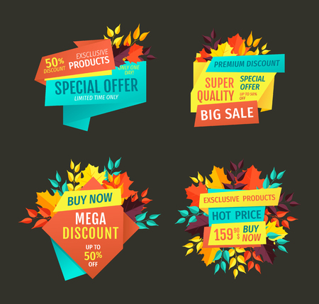 Special offer and mega discount products clearance promotion in autumn season. Premium autumnal proposition clearance buy now set of banners vector