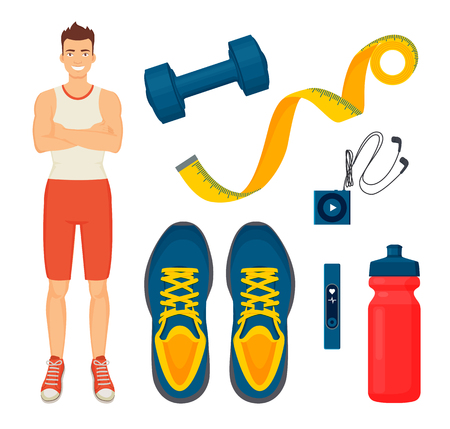 Man and sport items isolated icons vector. Guy smiling, dumbbells and measurement meter tape, sneakers shoes with water in bottle. Headphones and mp3 Illusztráció