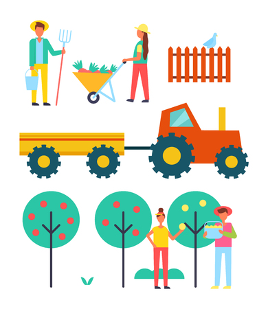 People working on farm vector icon. Tractor with trailer, woman with full wheelbarrow, man with pitchfork and bucket, couple pluck fruit from tree set