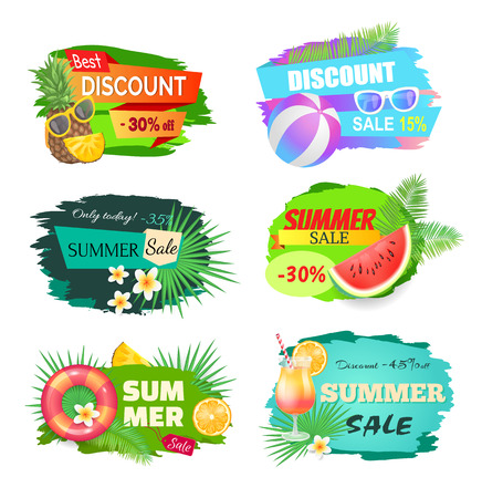 Summer discount summertime set. Lifebuoy and saving ring, watermelon and pineapple with glasses. Reduction of prices, special offers vector