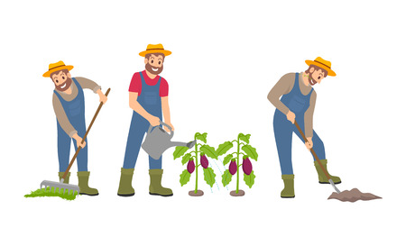 Farming man on farm icons set. Male with rake and compost on ground, cultivation with spade shovel. Watering of aubergine plants plantation vector