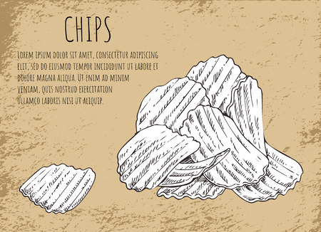 Chips fried potatoes poster with monochrome sketch outline. Heap of fast food, junk meals usually served to beer, text sample vector illustration Illustration