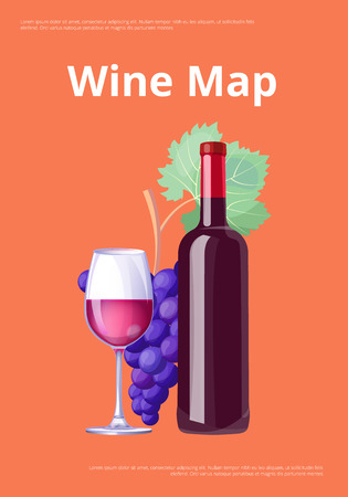 Wine Map Poster Red Wine Bottle and Glass Merlot