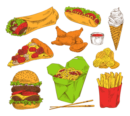 Fast food appetizer collection isolated on white pizza piece, hot dog ice cream nuggets fried chicken and potato, chips with sauce and huge hamburger Illustration