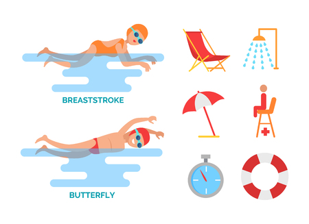 Butterfly and breaststroke swimming styles. Male and female sport people in water. Shower and chaise longue, umbrella and timer, lifebuoy icons vector