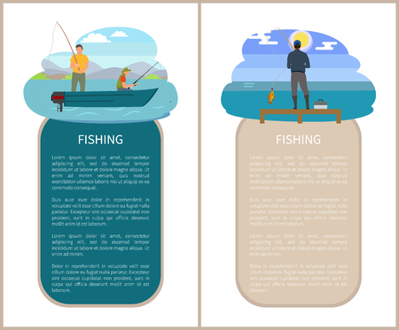 Fishery sport and recreation nature poster. Vector fishermen on motorboat on river and back view fisher on pier catching fish by rod near lake. Illustration