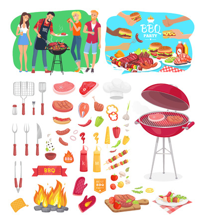 BBQ party barbeque posters and isolated icons vector set. People cooking outdoor on grill grid. Meat beef pork and salmon flatware and served dishes